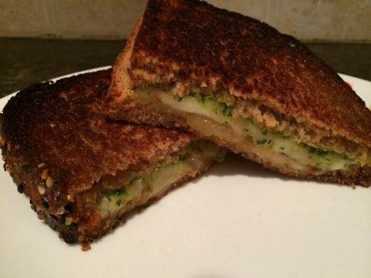Arugula Pesto, Caramelized Onions and Fontina